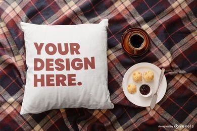 Composición de maqueta de desayuno de almohada de tiro