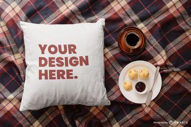 Composição da maquete do café da manhã para jogar travesseiro