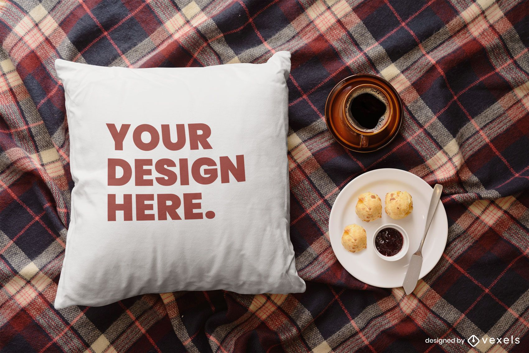 Throw pillow breakfast mockup composition