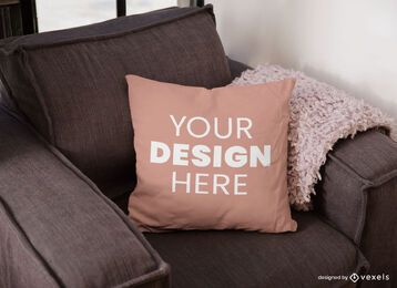 Sofa pillow mockup design