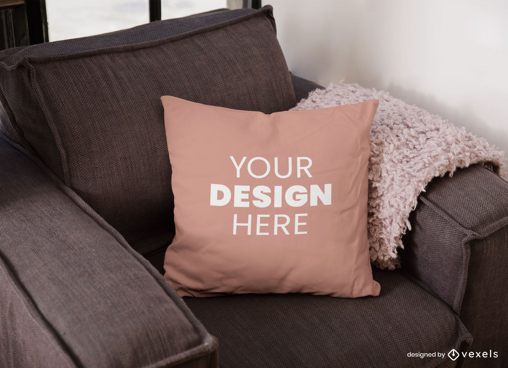 Diseño de maqueta de almohada de sofá
