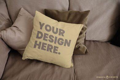 Design de maquete de almofada de sofá