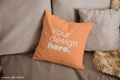 Couch throw pillow mockup design