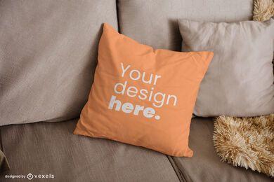 Design de maquete de almofada para sofá
