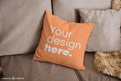 Diseño de maqueta de almohada de tiro de sofá