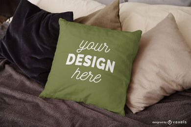 Design de maquete de travesseiro de cama