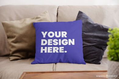 Couch throw pillow mockup design psd