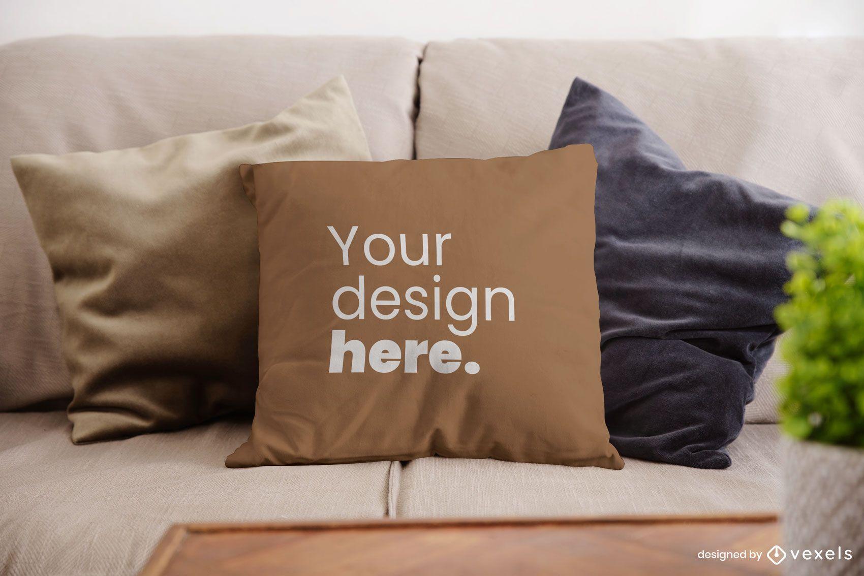 Diseño de maqueta de almohada de tiro de sofá psd