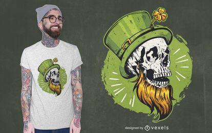 Diseño de camiseta de calavera de san patricio