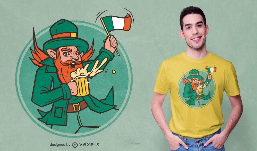 Leprechaun com design de camiseta de cerveja