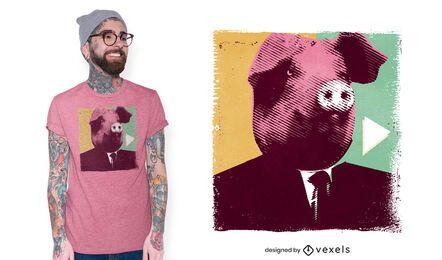Diseño de camiseta de cabeza de cerdo