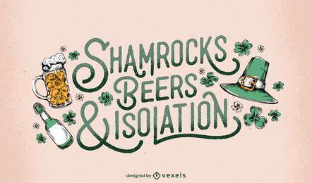 St Patricks shamrocks lettering