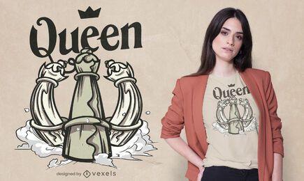 Diseño de camiseta de reina de ajedrez.
