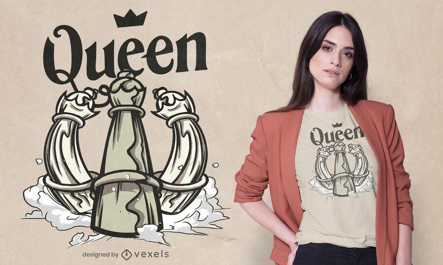 Design de camiseta rainha do xadrez