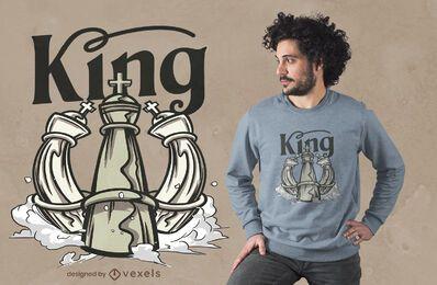 Diseño de camiseta de ajedrez rey