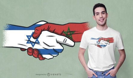 Design de camiseta para aperto de mão Marrocos israel