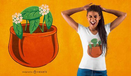 Diseño de camiseta de planta hoya carnosa.