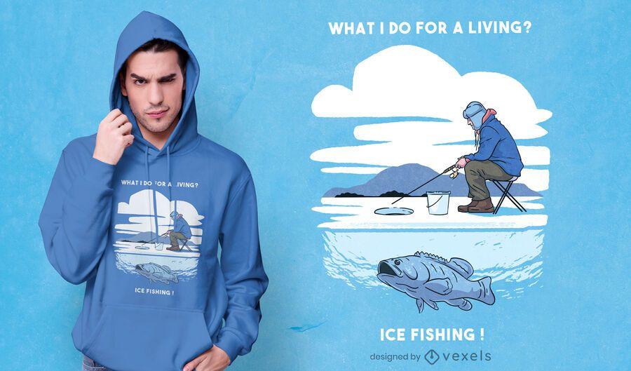 Diseño de camiseta de pesca en hielo.