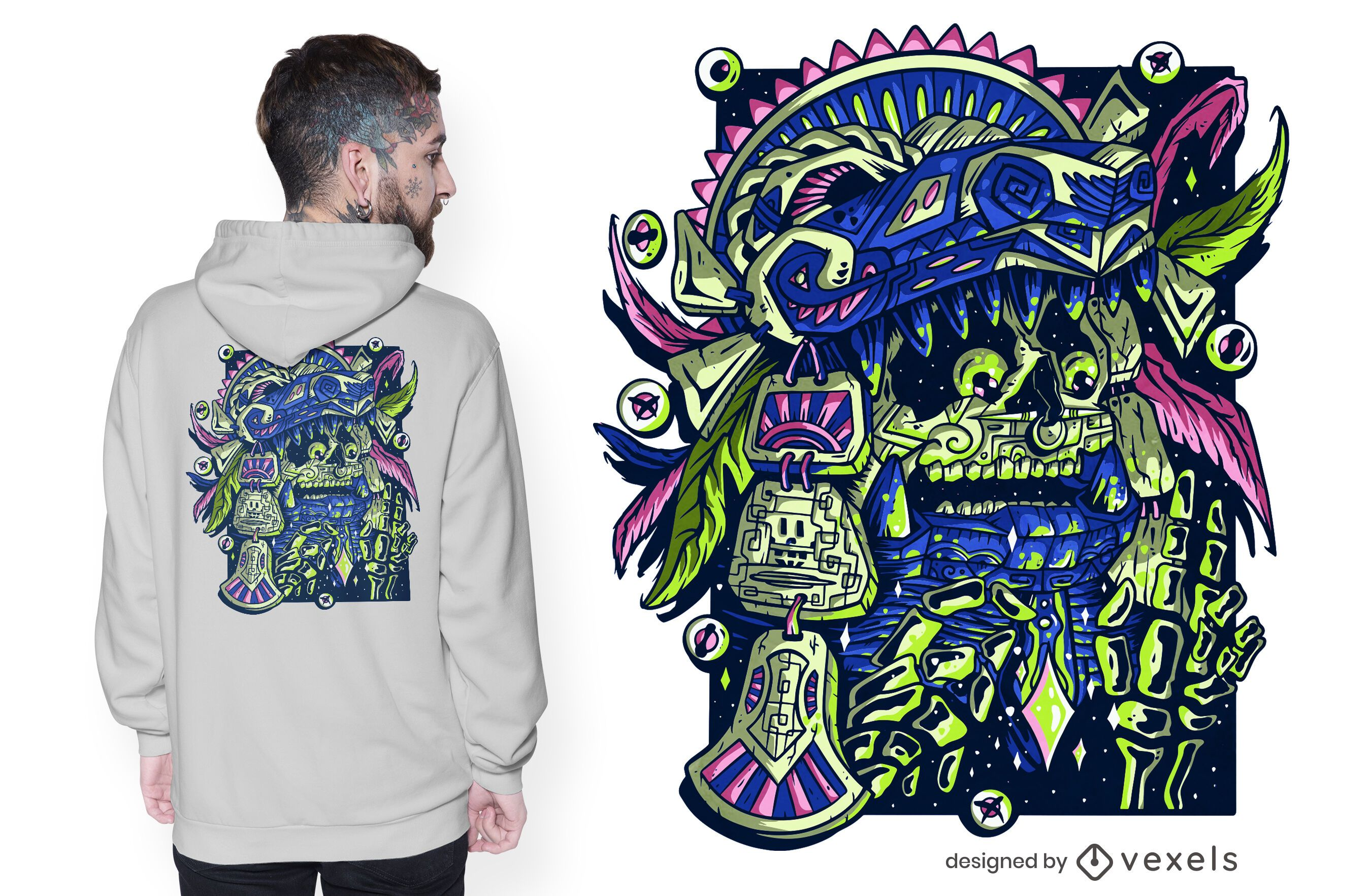 Diseño de camiseta de guerrero azteca.
