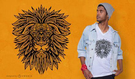 Design de t-shirt de mandala de leão