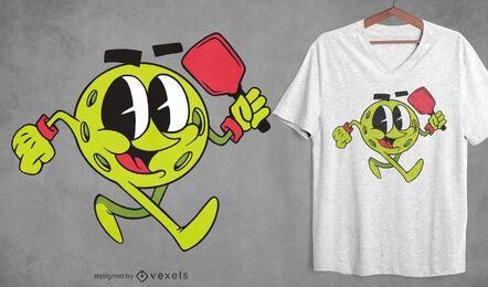 Diseño de camiseta de dibujos animados de Pickeball