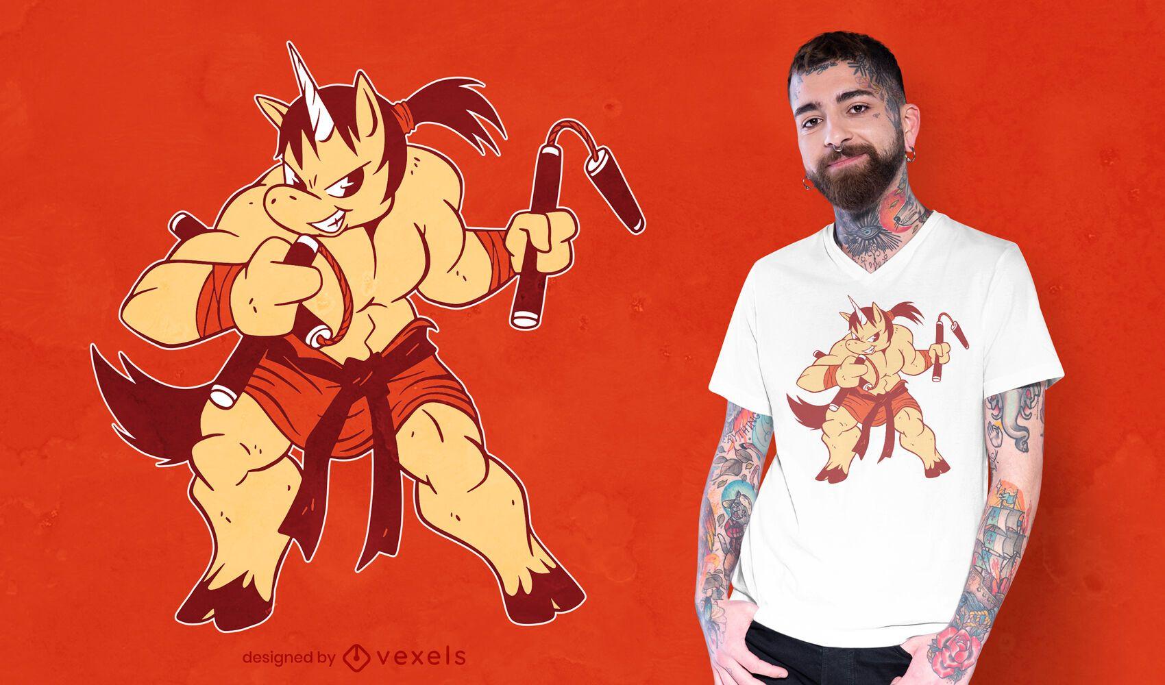 Diseño de camiseta unicornio ninja