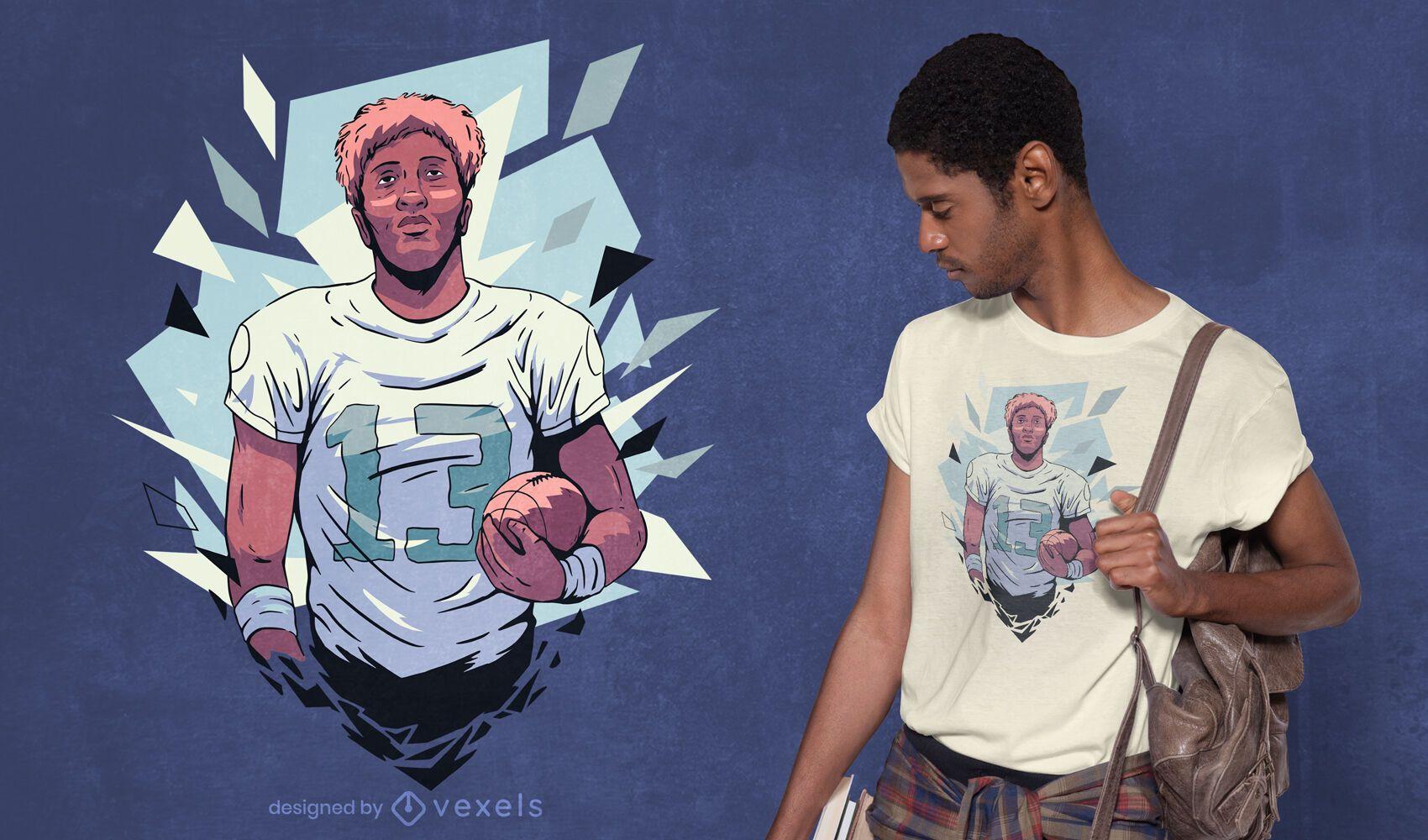 Football player t-shirt design