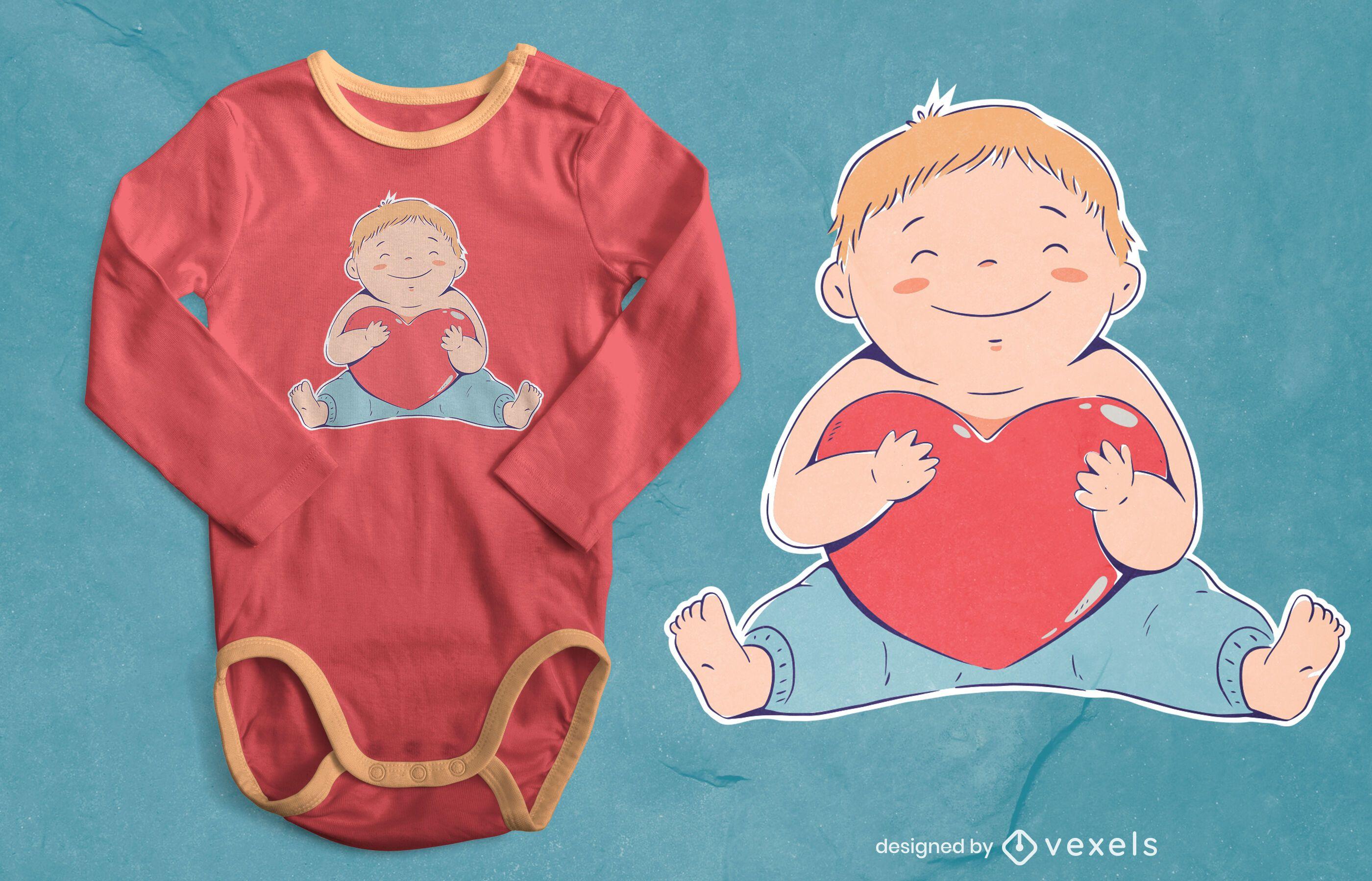 Design de camiseta com coração de bebê