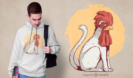 Design de t-shirt gato galo