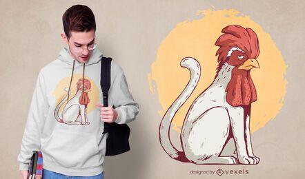 Diseño de camiseta gato gallo