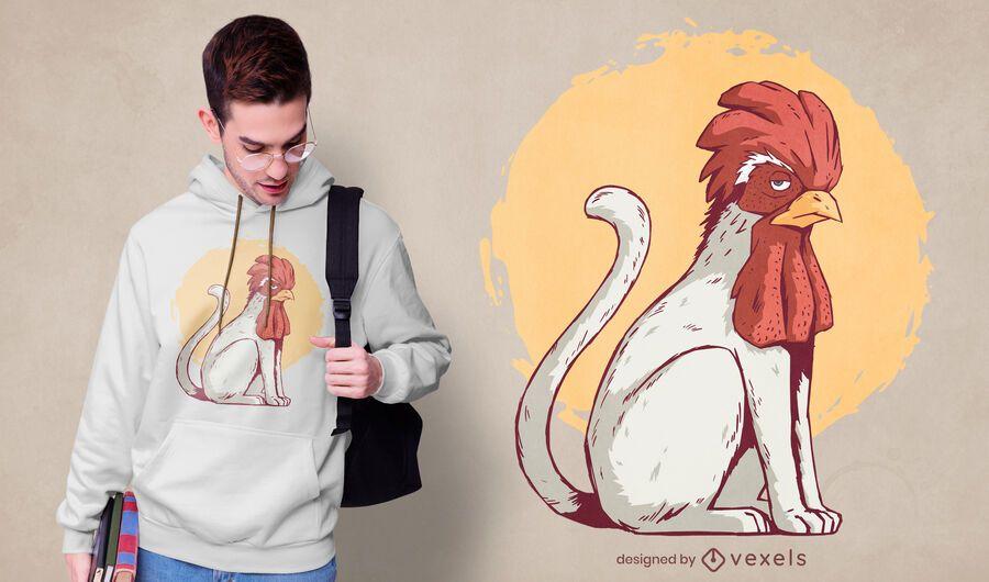 Cat rooster t-shirt design