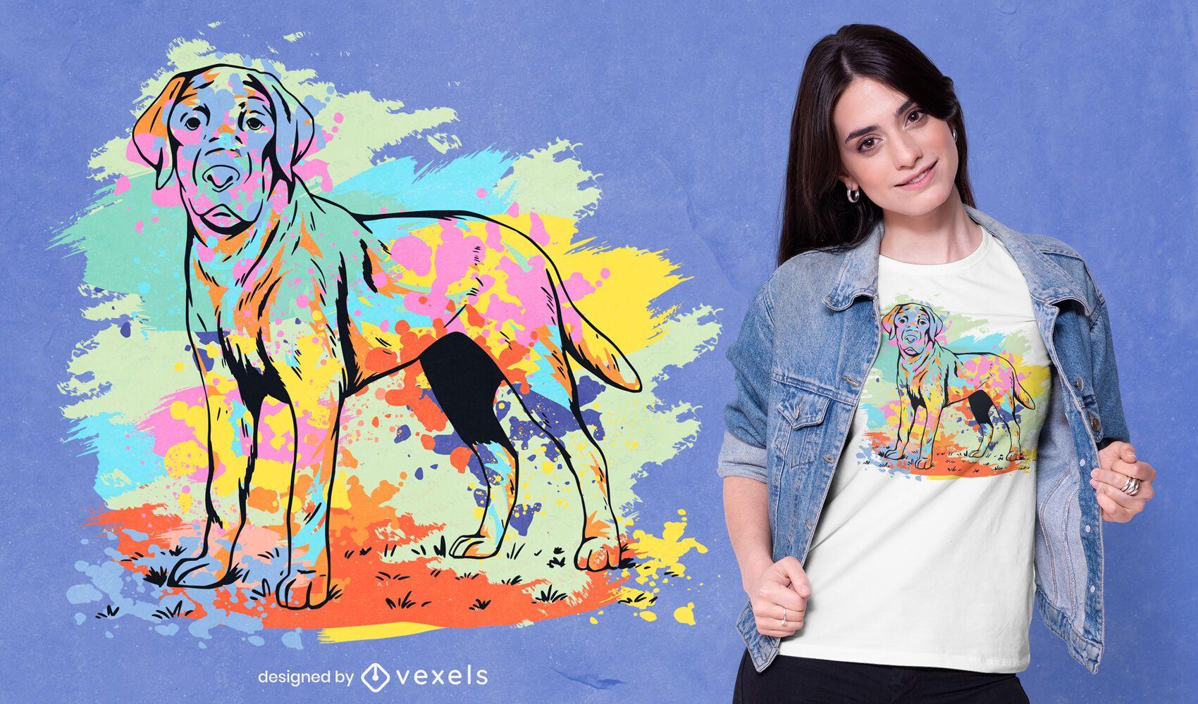 Diseño de camiseta de acuarela de Labrador