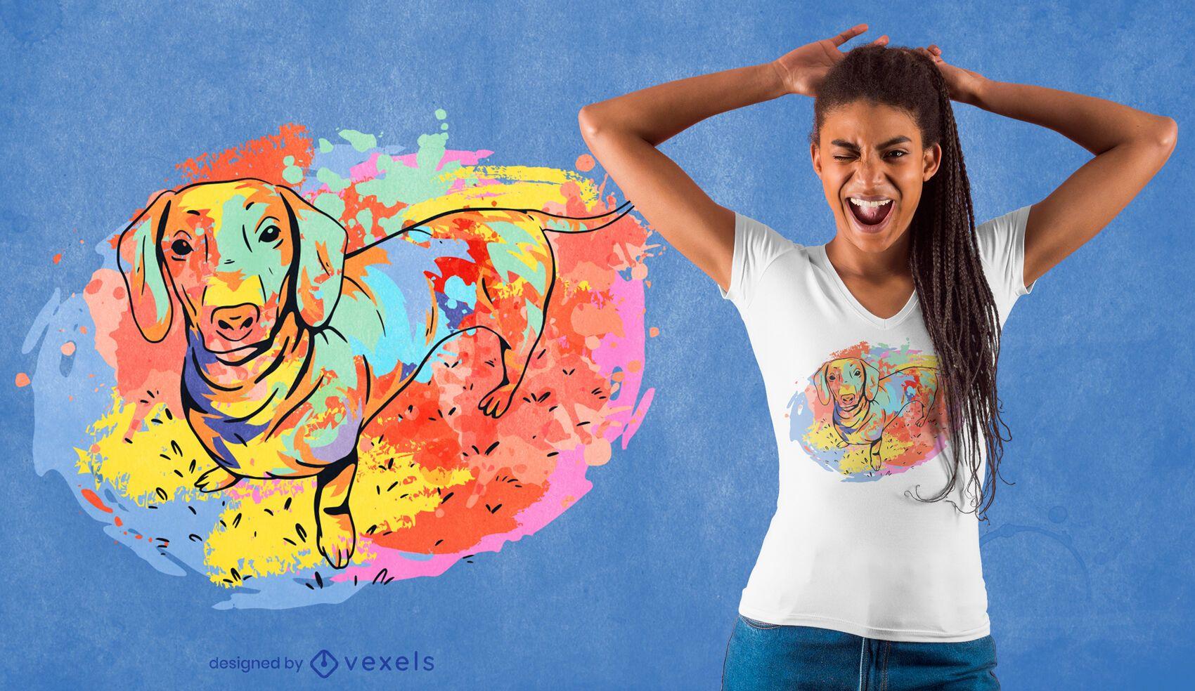Dachshund watercolor t-shirt design