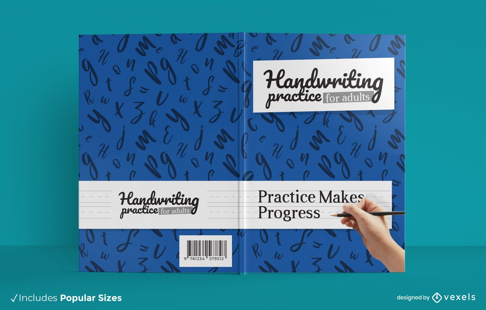 Handwriting practice adults book cover design