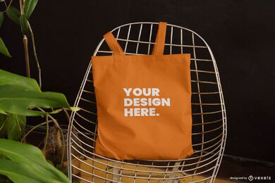Tote bag chair mockup design