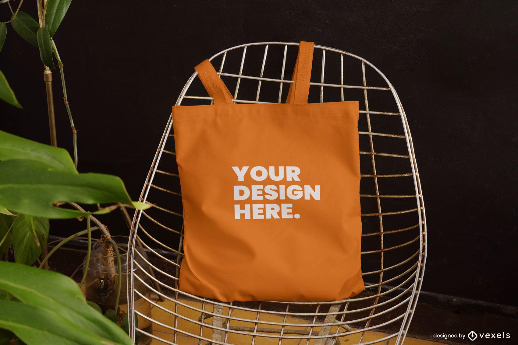 Tote bag chair mockup design