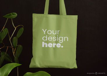 Tote bag leaves mockup design