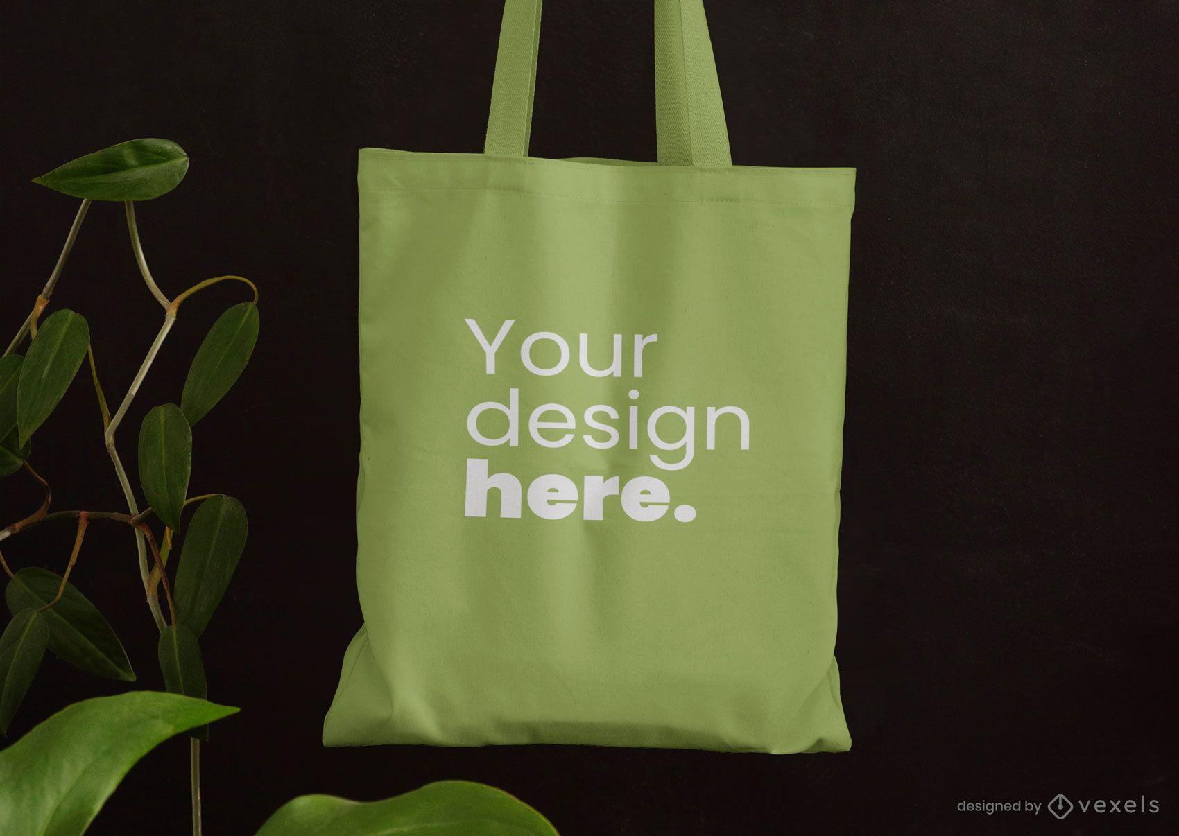 Tote bag leaves mockup design