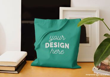 Tote bag desk mockup design