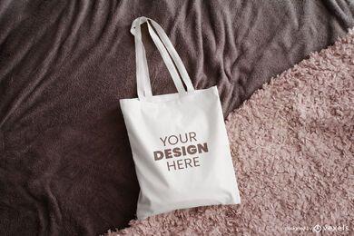 Design de maquete de manta de sacola