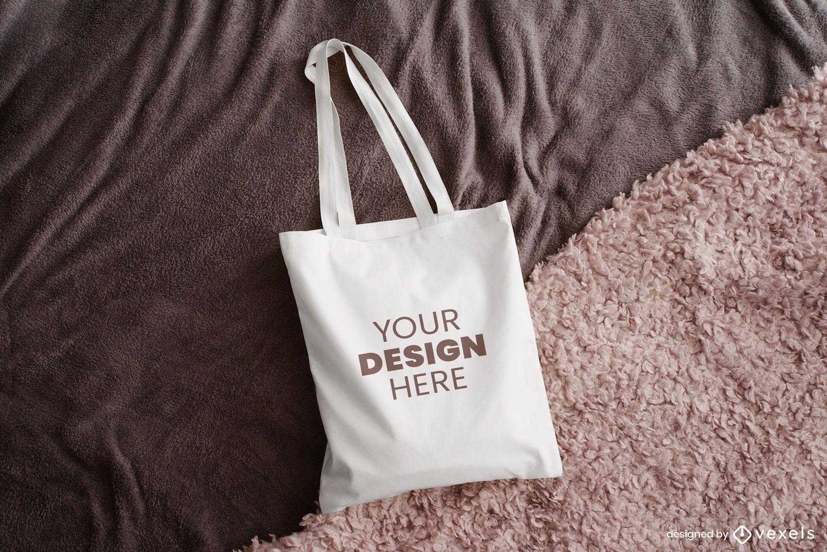 Tote bag blanket mockup design