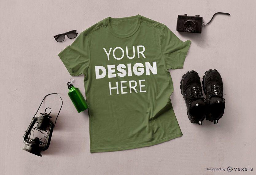 Composição de maquete de camiseta de aventura