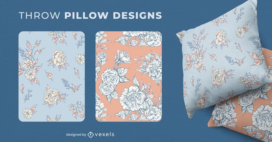 Flowers throw pillow set