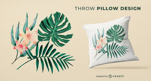 Tropical leaves throw pillow design