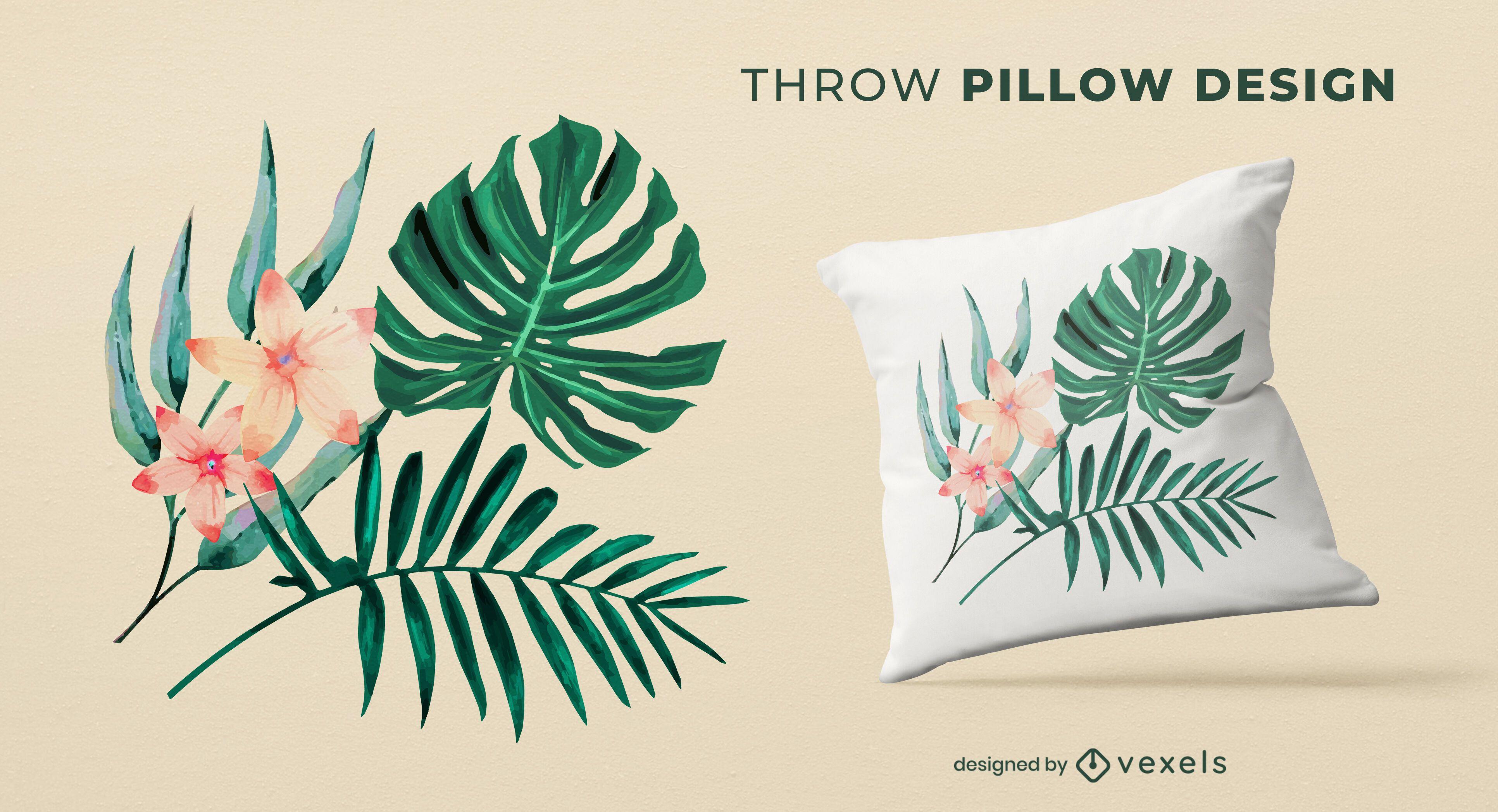 Diseño de almohada de tiro de hojas tropicales.