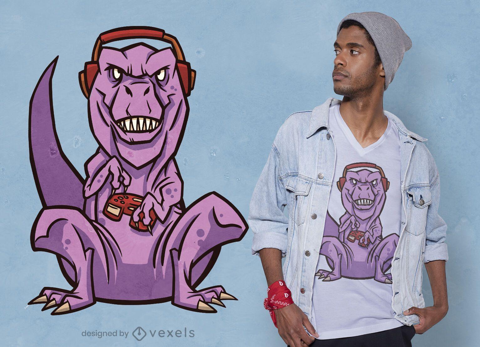Design de camisetas T-Rex para jogos