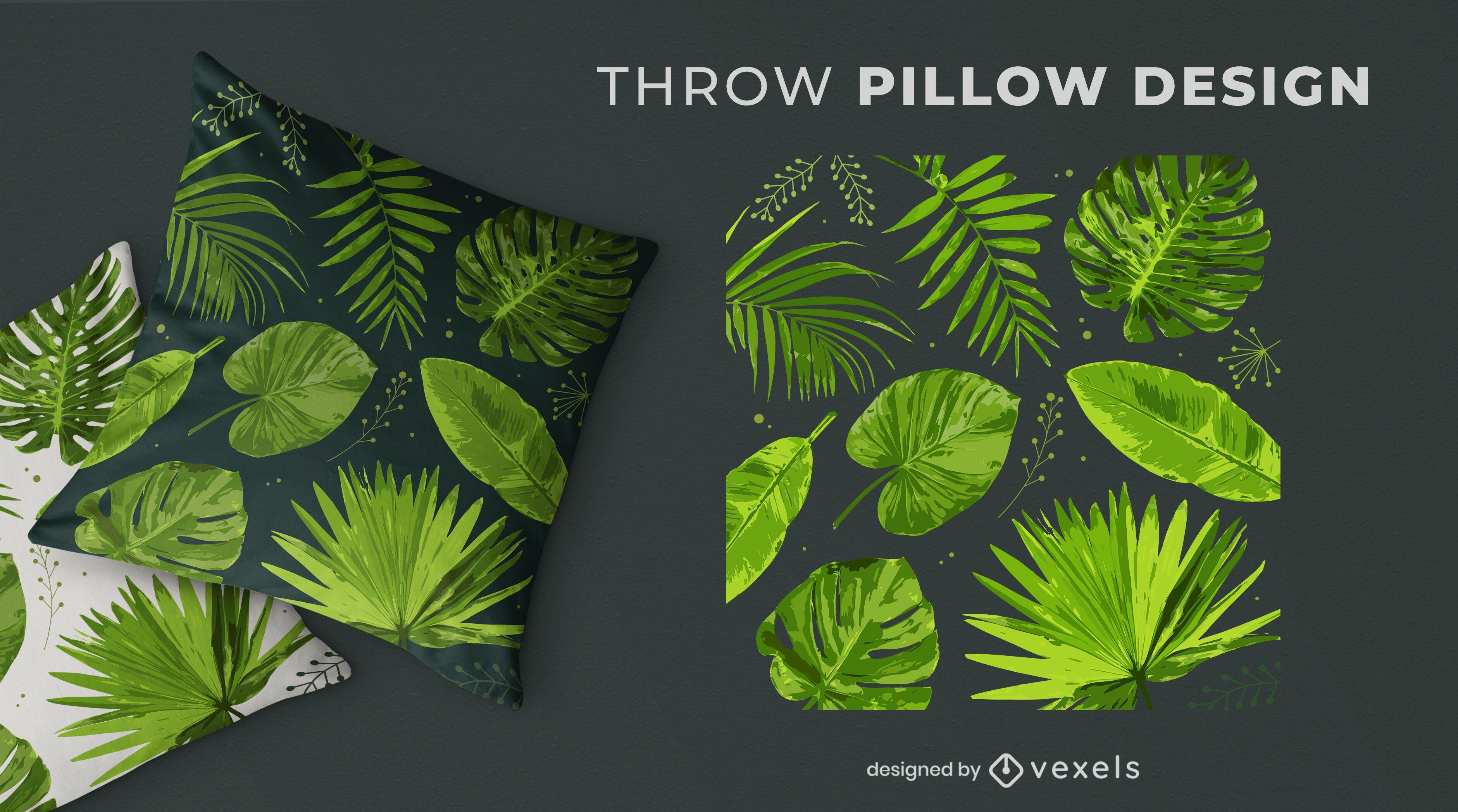 Diseño de almohada de tiro de naturaleza tropical