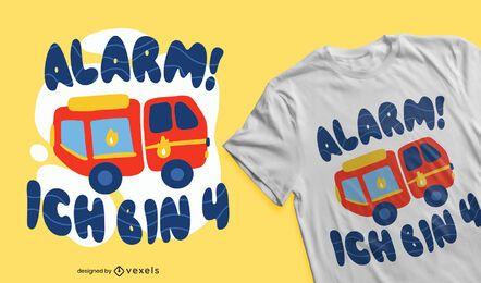 Design de camiseta alemã de 4º aniversário