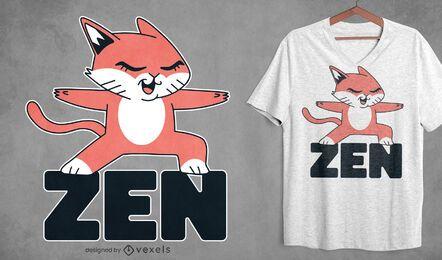 Diseño de camiseta de gato zen