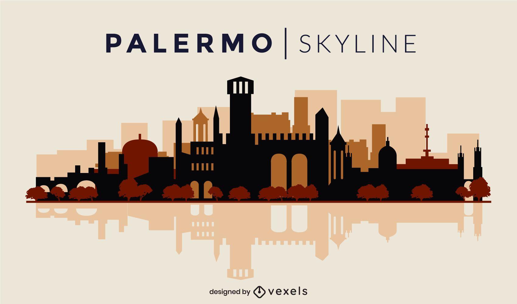 Horizonte plano de Palermo Italia